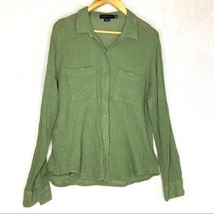SANCTUARY Shirt Boyfriend Top Waffle Knit Green M